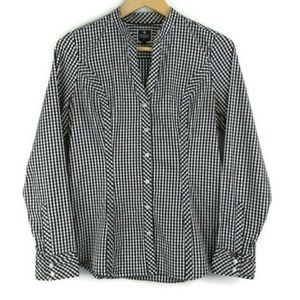 EXPRESS The Essential Shirt Black Gingham Size M
